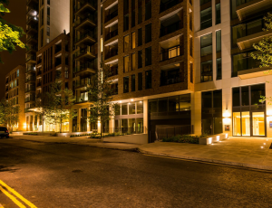 Outside North Wharf Gardens at Night